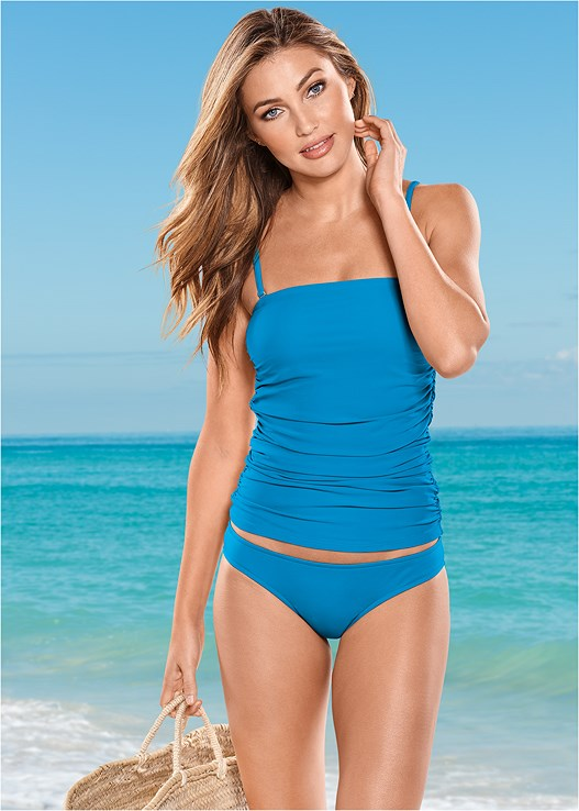 SLIMMING TANKINI TOP,LOW RISE BIKINI BOTTOM,SCOOP FRONT BIKINI BOTTOM,ADJUSTABLE SIDE BOTTOM,MESH WRAP SKIRT