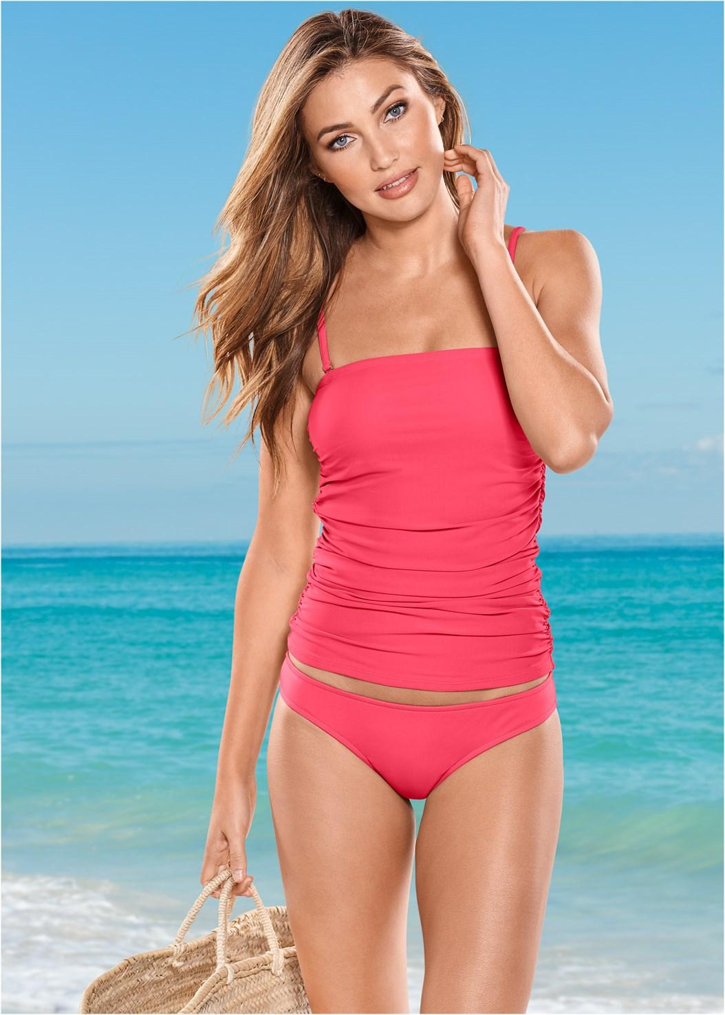 Slimming Tankini Top,Low Rise Classic Bikini Bottom ,Scoop Front Classic Bikini Bottom