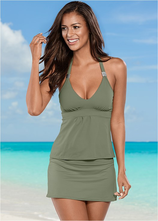 fba70a610b4d Army Green SKIRTED SWIM BIKINI BOTTOM