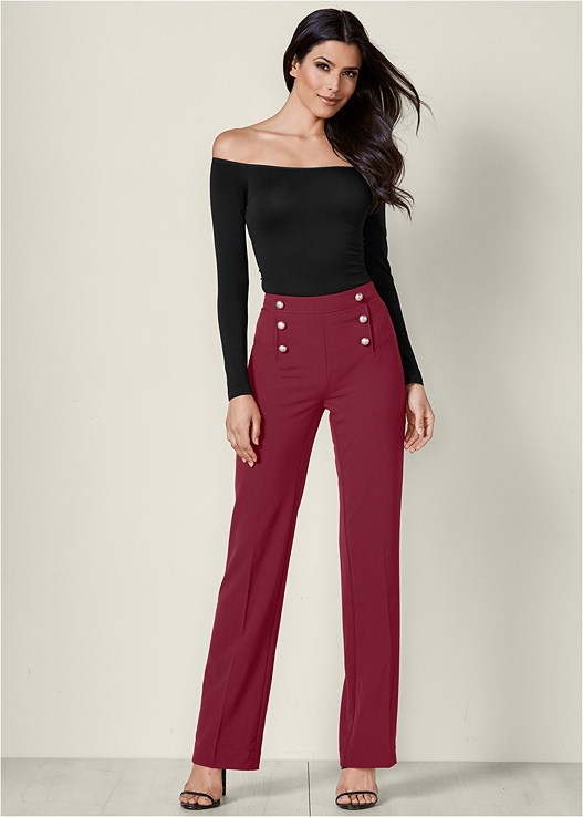 SLIMMING FLARE PANTS,OFF THE SHOULDER TOP,HIGH HEEL STRAPPY SANDALS