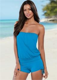Front View Blouson Bandeau Bikini Top
