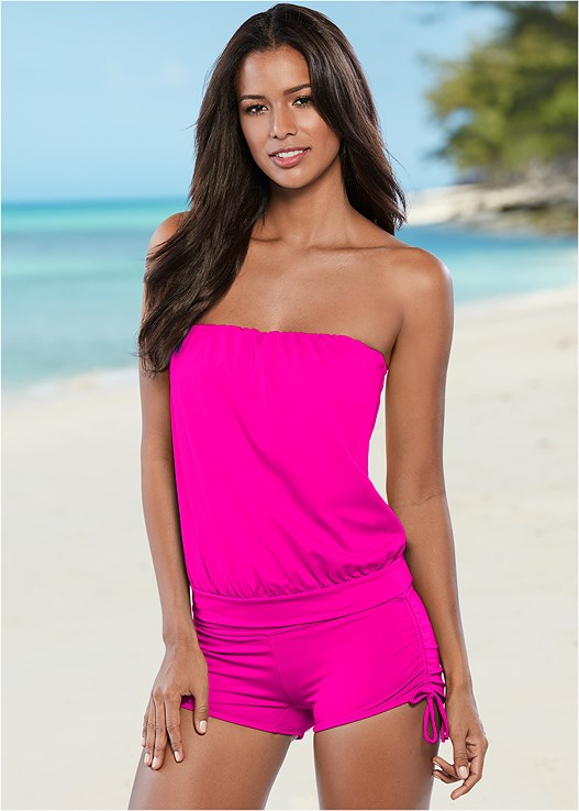 BLOUSON TANKINI TOP,ADJUSTABLE SIDE SWIM SHORT,HIGH WAIST MODERATE BOTTOM,HIGH WAIST FULL CUT BOTTOM