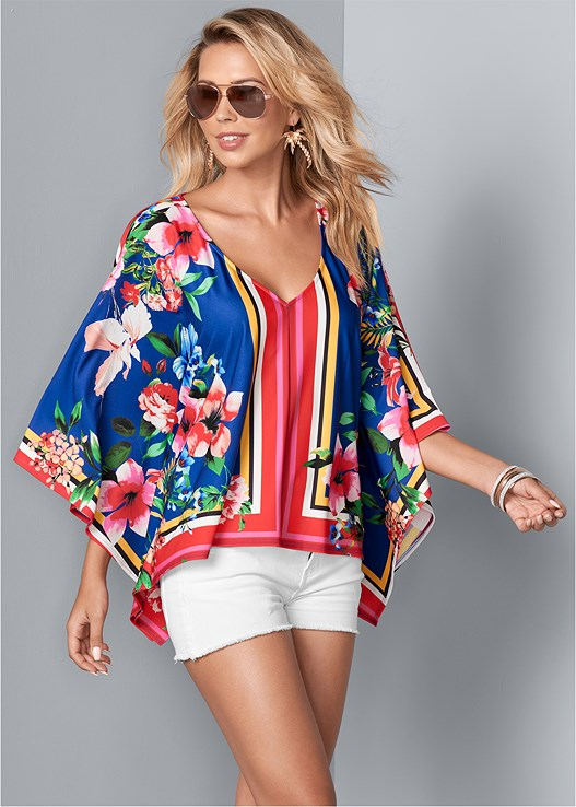 PONCHO PRINT TOP,CUT OFF JEAN SHORTS,STUDDED HEELS,STEVE MADDEN SUNGLASSES