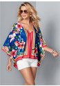Front View Poncho Print Top