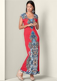 Front View Open Back Maxi Dress