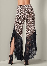 Back View Animal Print Lace Pants