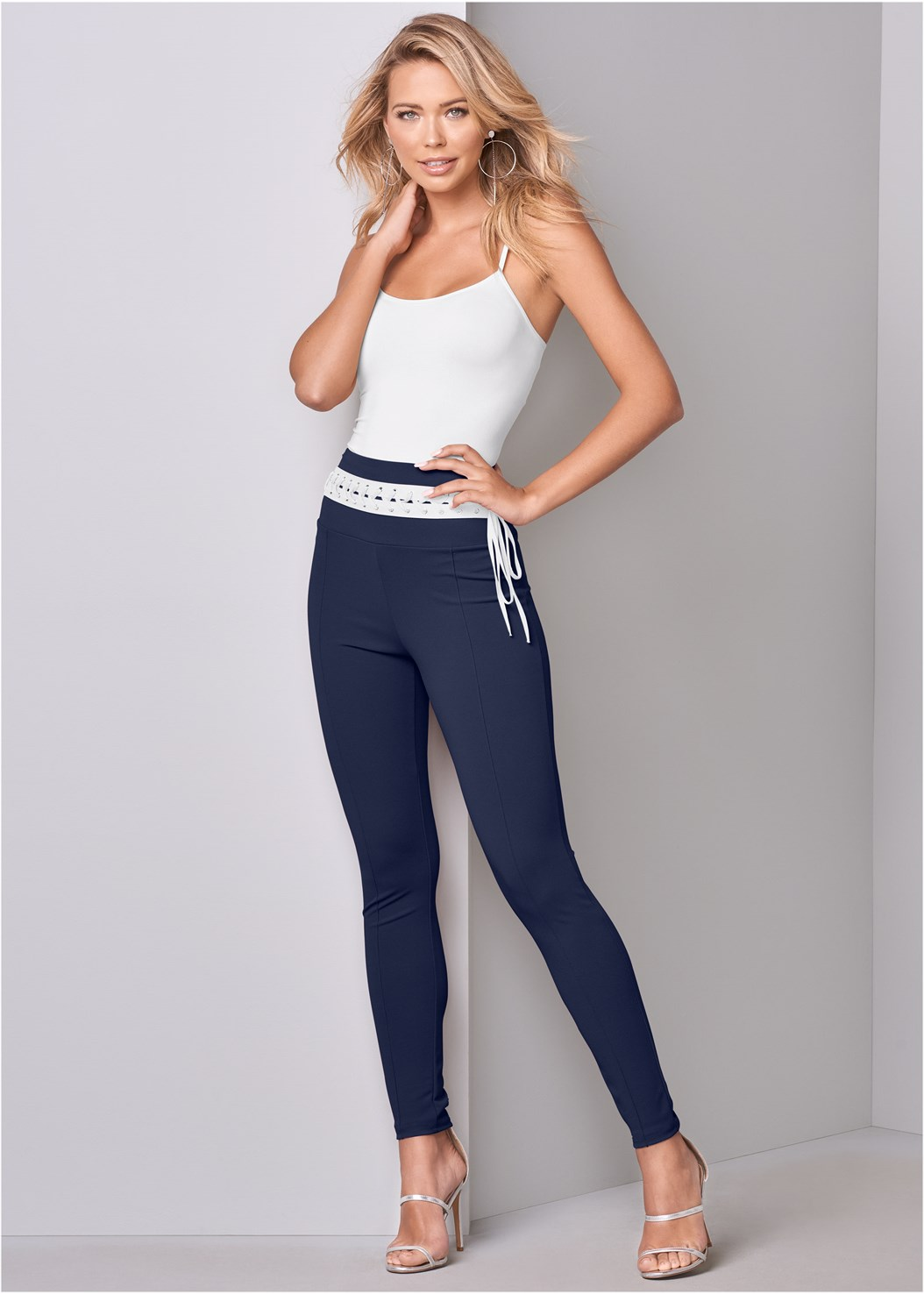 Laced Waistband Leggings,Seamless Cami,High Heel Strappy Sandals,Hoop Detail Earrings