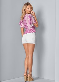 Back View Tie Front Print Top