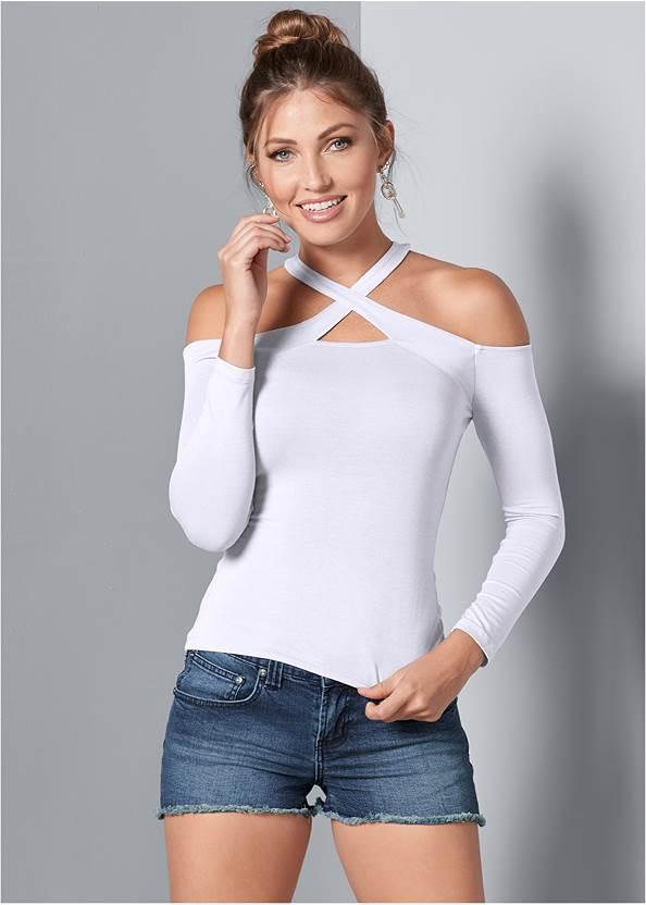 Crisscross Neck Top,Frayed Cut Off Jean Shorts,Embellished Wedges,Circle Detail Handbag