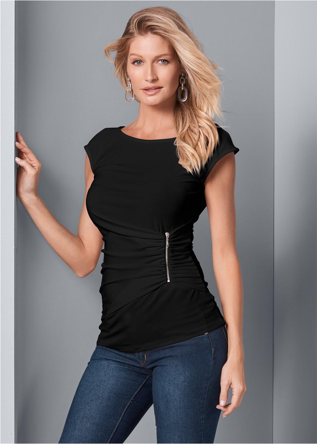 Zip Detail Top,Mid Rise Color Skinny Jeans,Circle Ring Detail Handbag