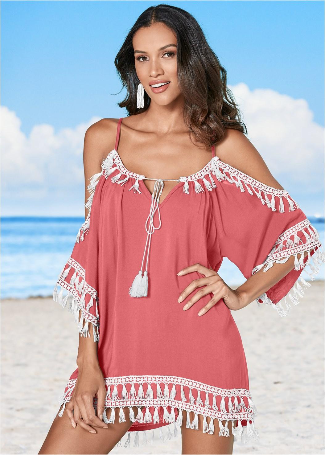 Boho Tassel Tunic Cover-Up,Scoop Front Bikini Bottom