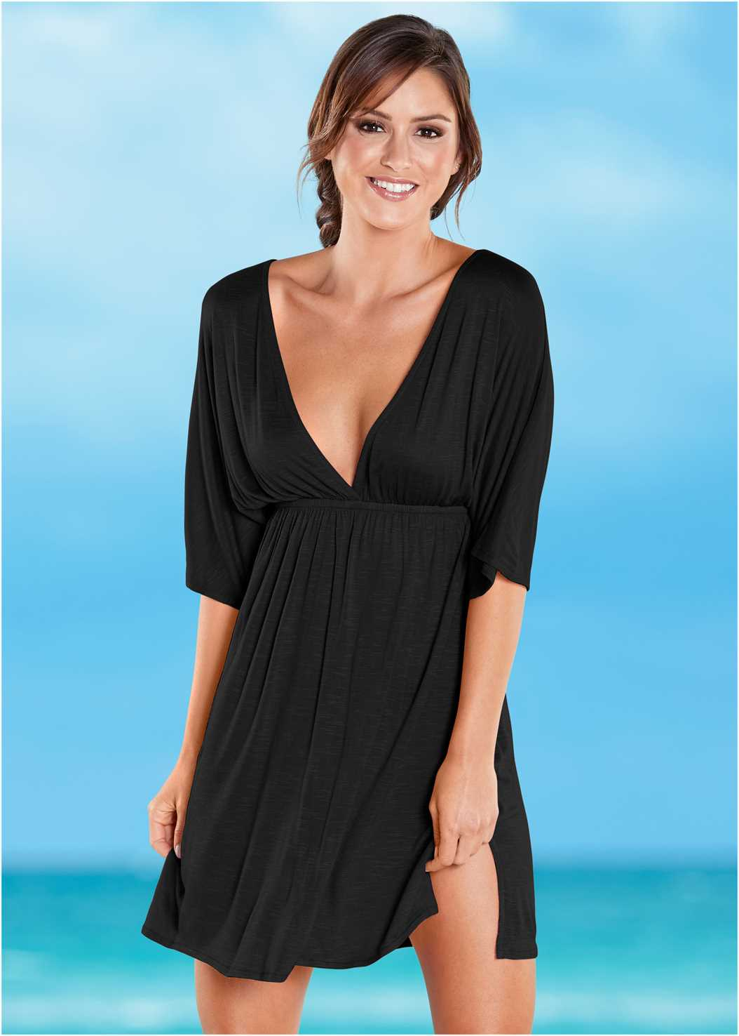 Deep V Cover-Up Tunic,Marilyn Underwire Push Up Halter Top,Wrapped Mid Rise Bottom,Beaded Crochet One-Piece