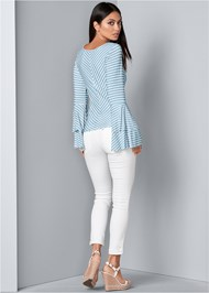 Back View Bell Sleeve Keyhole Top