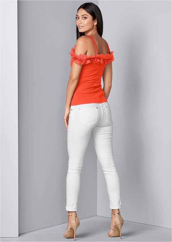 Back View Ruffle Cold-Shoulder Top