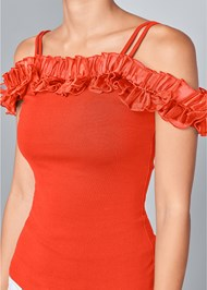 Alternate View Ruffle Cold Shoulder Top