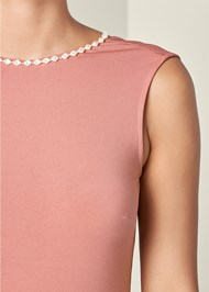 Alternate View Open Back Pearl Detail Top