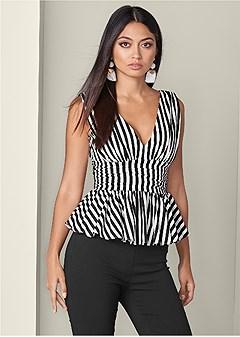 v-neck peplum blouse