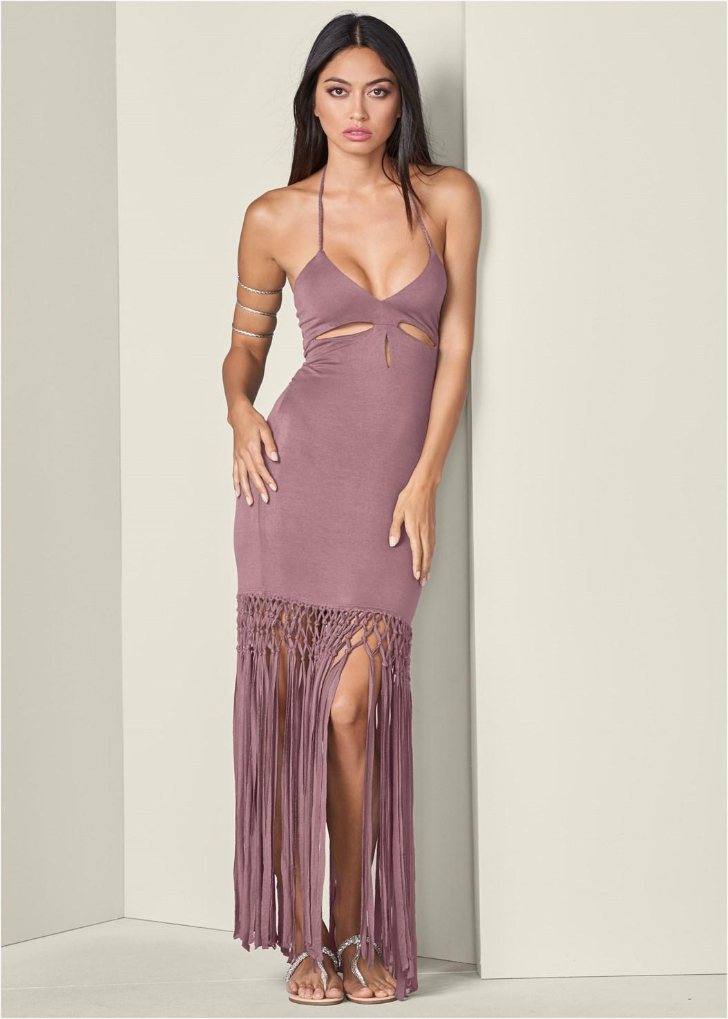 Fringe Cut Out Maxi Dress