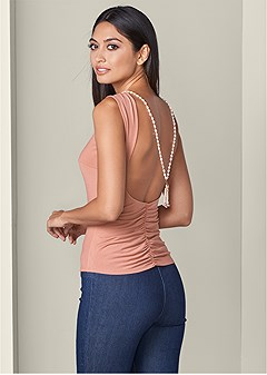 open back pearl detail top