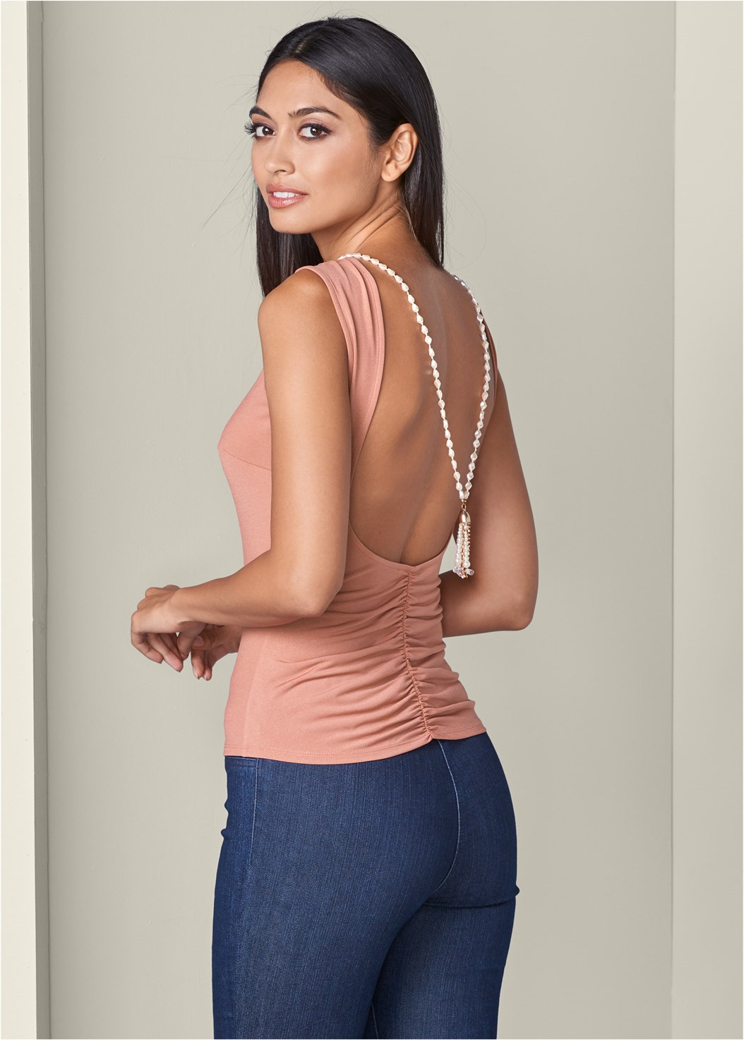 Open Back Pearl Detail Top,Mid Rise Slimming Stretch Jeggings,Cupid Backless Lace Up Bra,High Heel Strappy Sandals
