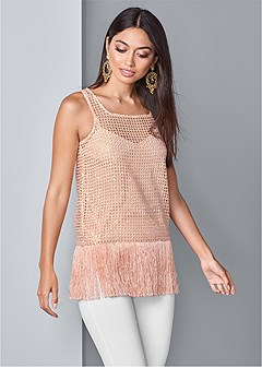 fringe detail sequin top