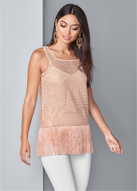FRINGE DETAIL SEQUIN TOP,SLIMMING STRETCH JEGGINGS,STUDDED STRAPPY HEELS,CHANDELIER EARRINGS