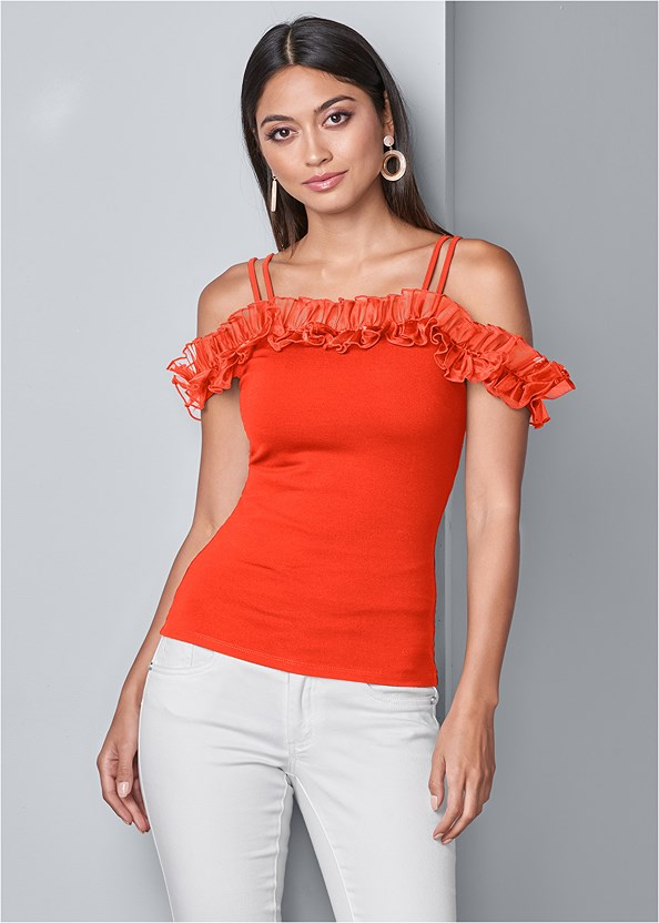 Ruffle Cold Shoulder Top,Mid Rise Color Skinny Jeans,High Heel Strappy Sandals