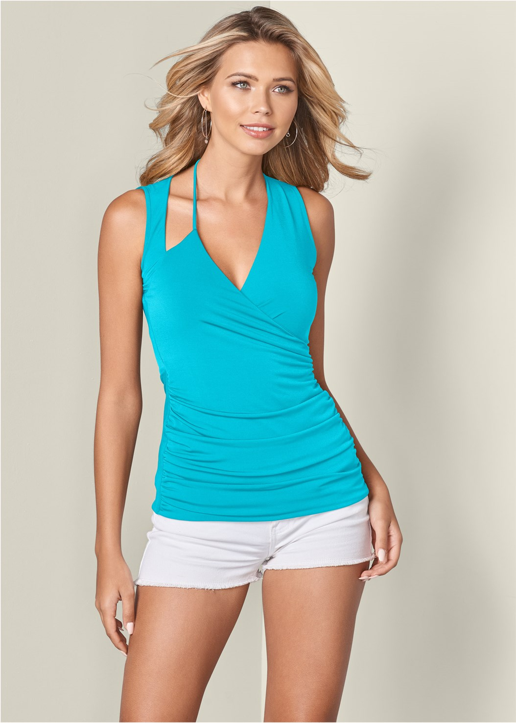 Ruched Detail Surplice Top,Frayed Cut Off Jean Shorts