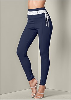 laced waistband leggings