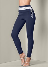 Front View Laced Waistband Leggings