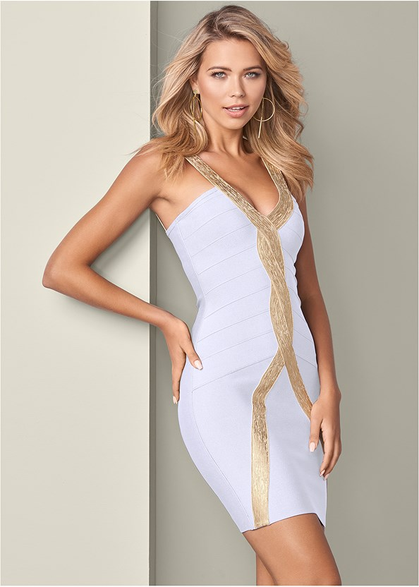 Bandage Bodycon Dress,High Heel Strappy Sandals,Ring Handle Circle Clutch