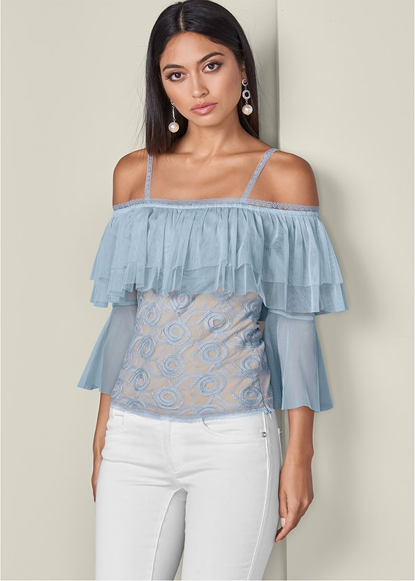 Embroidered Tulle Top,Mid Rise Color Skinny Jeans