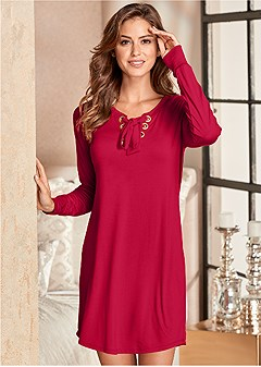 grommet lace sleep dress