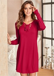Front View Grommet Lace Sleep Dress