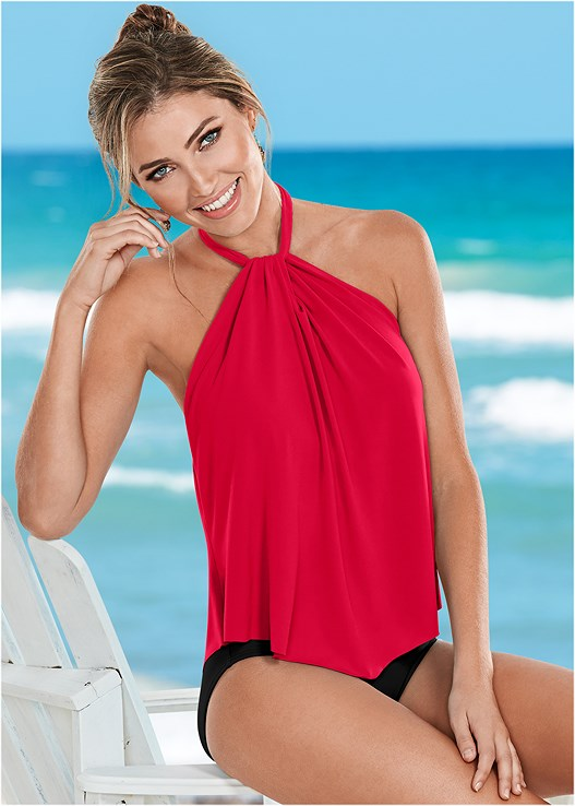 f5ec6961380c1 Red   Black HIGH NECK FLOUNCE ONE-PIECE from VENUS