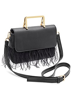 faux feather handbag