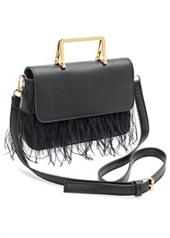 Front View Faux Feather Handbag