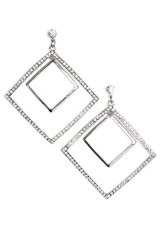 DIAMOND SHAPED EARRINGS,EMBELLISHED SWEATER DRESS