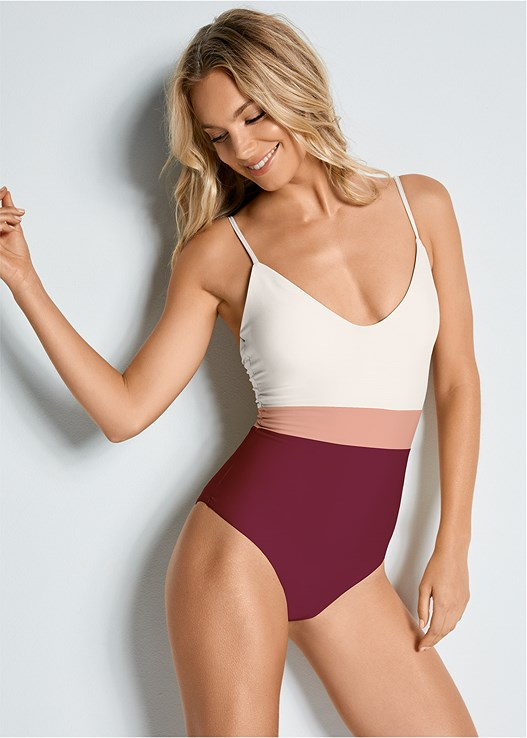 VERSATILITY BY VENUS ™ COLOR BLOCK ONE-PIECE,BURNOUT STRIPE COVER-UP,SCRUNCHIE