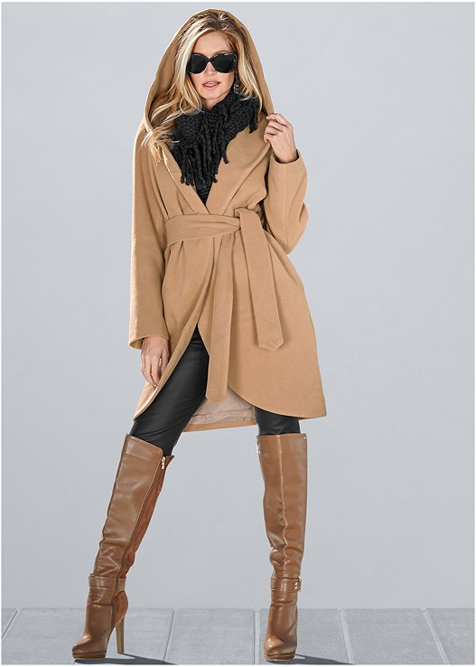 HOODED WRAP COAT,FAUX LEATHER LEGGINGS