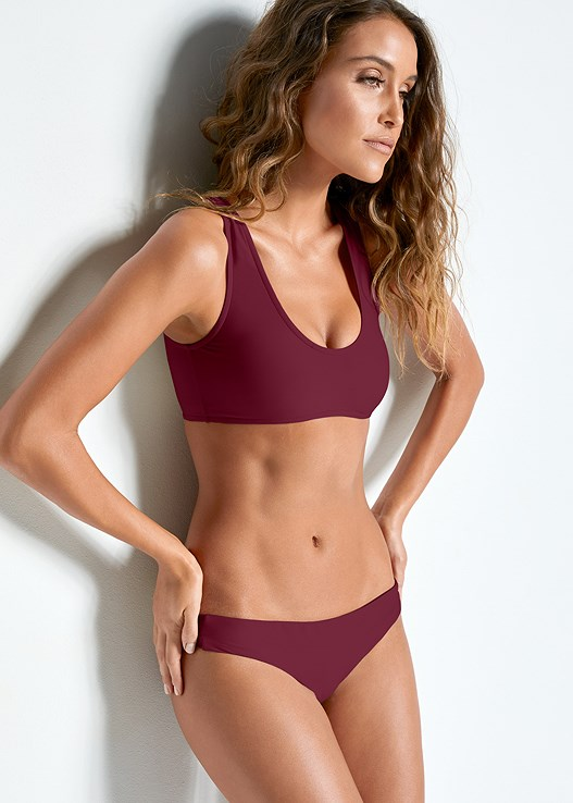 TWO IN ONE BIKINI TOP,LOW RISE RUCHED BOTTOM