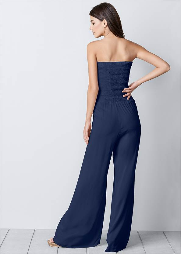 Back view Sleeveless Smocked Jumpsuit With Lace Detail