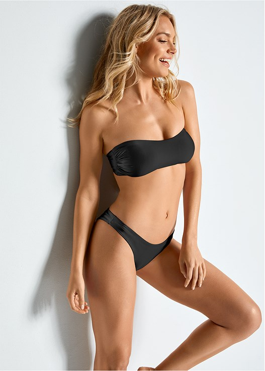 VERSATILITY BY VENUS™  REVERSIBLE BANDEAU TOP,VERSATILITY BY VENUS ™ REVERSIBLE HIGH LEG BOTTOM,VERSATILITY BY VENUS ™ REVERSIBLE RETRO BOTTOM,VERSATILITY BY VENUS™ LOW RISE RUCHED BOTTOM