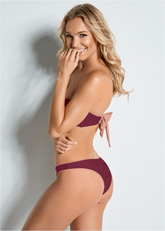 VERSATILITY BY VENUS ™ REVERSIBLE HIGH LEG BOTTOM,VERSATILITY BY VENUS™  REVERSIBLE BANDEAU TOP