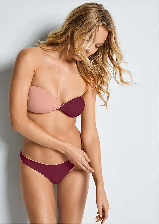 VERSATILITY BY VENUS™  REVERSIBLE BANDEAU TOP,VERSATILITY BY VENUS ™ REVERSIBLE HIGH LEG BOTTOM