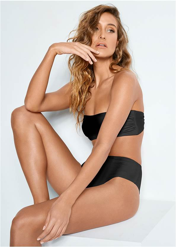 Versatility By Venus™  Reversible Bandeau Top,Mid Rise Hipster Classic Bikini Bottom,Cold Shoulder Cover-Up