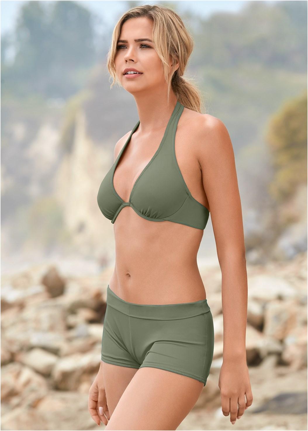 Underwire Halter Bikini Top,Swim Short