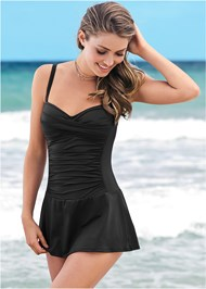 Front View Slimming Skirted One-Piece