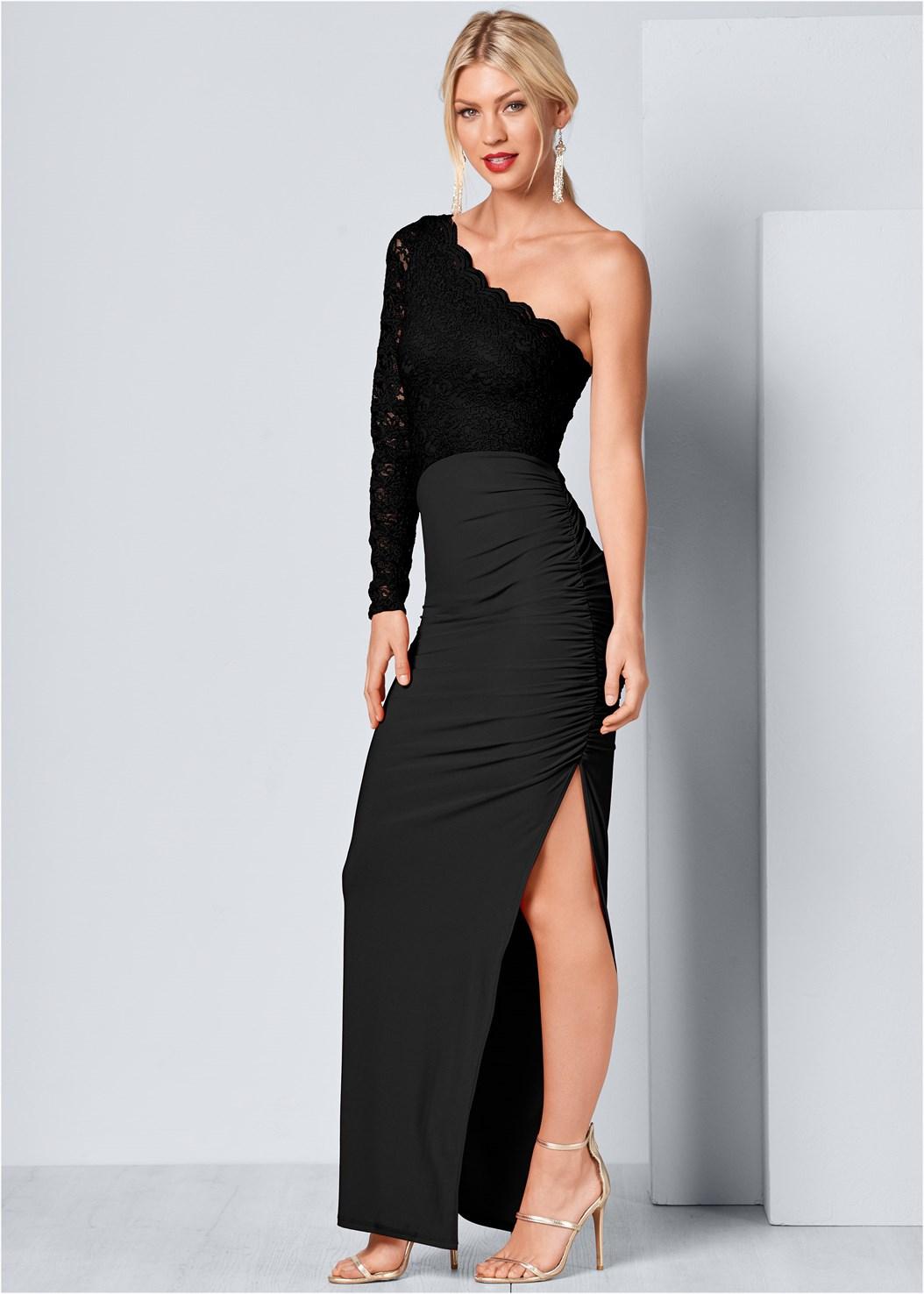 One Shoulder Long Dress,High Heel Strappy Sandals