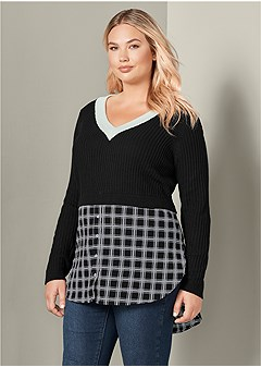 plus size twofer color block sweater